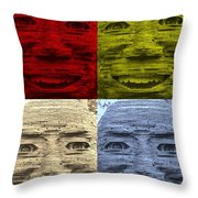 In Your Face In Colors Throw Pillow