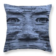 In Your Face In Cyan Throw Pillow
