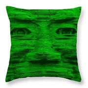 In Your Face In Green Throw Pillow