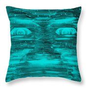 In Your Face In Neagtive Turquois Throw Pillow