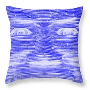 In Your Face In Negative Blue Throw Pillow