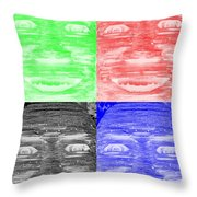 In Your Face In Negative Colors Throw Pillow