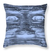In Your Face In Negative Cyan Throw Pillow