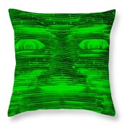 In Your Face In Negative Green Throw Pillow