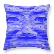 In Your Face In Negative Light Blue Throw Pillow
