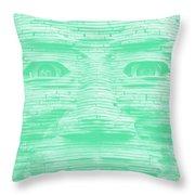 In Your Face In Negative Light Green Throw Pillow