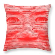 In Your Face In Negative Light Red Throw Pillow