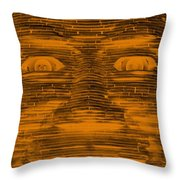 In Your Face In Negative Orange Throw Pillow