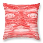 In Your Face In Negative Red Throw Pillow