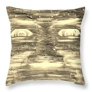 In Your Face In Negative Sepia Throw Pillow