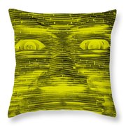 In Your Face In Negative Yellow Throw Pillow
