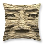 In Your Face In Sepia Throw Pillow