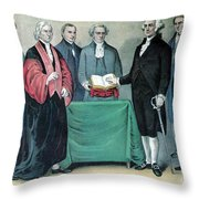 Inauguration Of George Washington, 1789 Throw Pillow by Photo Researchers