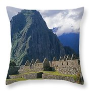 Inca Structures Stand Below Mount Throw Pillow