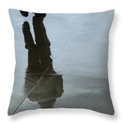 Inclement Winter Pedestrian Throw Pillow