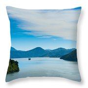 Incoming Ferry Through A Fjord  Throw Pillow