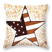 Independence Day Star Usa Flag Coffee Painting Throw Pillow by Georgeta  Blanaru