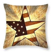 Independence Day Stary American Flag Throw Pillow