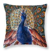 India: Peacock Throw Pillow