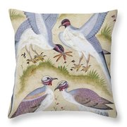 India: Pheasants Throw Pillow