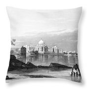 India: Taj Mahal, C1860 Throw Pillow