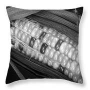 Indian Corn Black And White Throw Pillow