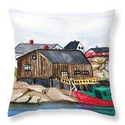 Indian Harbour Peggys Cove  Nova Scotia Throw Pillow
