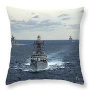 Indian Navy Corvette Ship Ins Kulish Throw Pillow