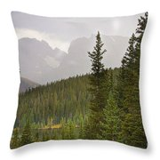 Indian Peaks Colorado Rocky Mountain Rainy View Throw Pillow