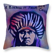 Indigenous Motto...blue Throw Pillow