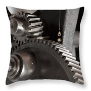 Industrial Gears Whith Oil Drops Throw Pillow