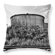 Industrial Tank In Black And White Throw Pillow