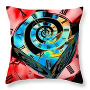 Infinity Time Cube Blue On Red Throw Pillow