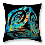 Infinity Time Cube On Black Throw Pillow