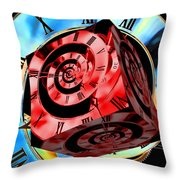 Infinity Time Cube Red On Blue Throw Pillow