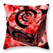 Infinity Time Cube Red Throw Pillow
