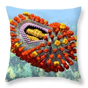 Influenza Structure On Blue Throw Pillow