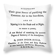 Ingenhousz Title-page, 1779 Throw Pillow