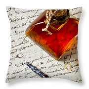 Ink Bottle And Pen  Throw Pillow