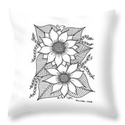 Ink Sunflower Throw Pillow