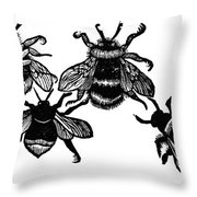 Insects: Bees Throw Pillow