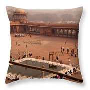 Inside Jama Masjid In The Huge Courtyard Throw Pillow