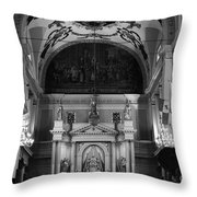 Inside St Louis Cathedral Jackson Square French Quarter New Orleans Black And White Throw Pillow