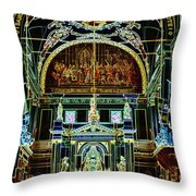 Inside St Louis Cathedral Jackson Square French Quarter New Orleans Glowing Edges Digital Art Throw Pillow