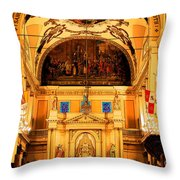 Inside St Louis Cathedral Jackson Square French Quarter New Orleans Ink Outlines Digital Art Throw Pillow