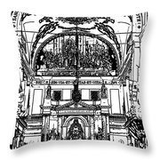 Inside St Louis Cathedral Jackson Square French Quarter New Orleans Stamp Digital Art Throw Pillow