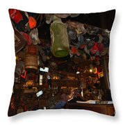 Inside The Bar In Luckenbach Tx Throw Pillow by Susanne Van Hulst