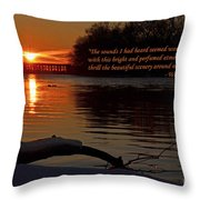 Inspirational Sunset With Quote Throw Pillow