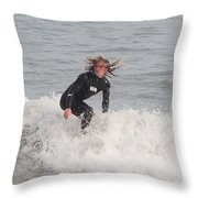 Intense Surfer Throw Pillow