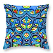 Interconnection In Blue Design Throw Pillow
